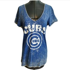 Chicago Cubs T Shirt Top M paint splatter faded